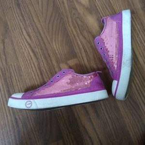 UGG Pink Leather & Sequin Sneakers